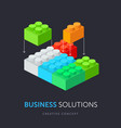 business solution flat isometric concept vector image