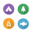 Camping flat design icons set vector image vector image