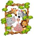 cartoon collection happy zoo animals vector image vector image