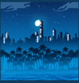 city lights and palm trees at night vector image vector image