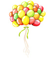 Coloful balloons with green ribbon vector image vector image