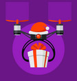 drone with santa hat and red ball nose gift box vector image