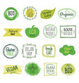eco emblems vegan green bio food gluten free vector image