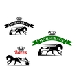 Equestrian sport icons for harness racing design vector image vector image