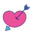 full color arrow design inside heart love icon vector image vector image