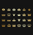 gold crown icons crown silhouettes vector image
