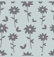 gray and blue floral seamless pattern vector image vector image