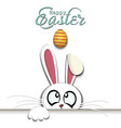 happy easter white easter rabbit and egg vector image