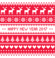 Happy New Year 2017 - Scandinavian red embroidery vector image vector image