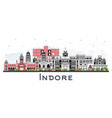 indore india city skyline with gray buildings vector image vector image