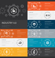 industry 40 infographic 10 line icons banners vector image vector image
