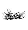 ink sketch swimmer vector image vector image