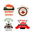 japanese restaurant sushi menu icons set vector image vector image