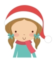 little cute girl with winter clothes isolated icon vector image