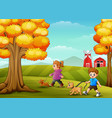 little girl and boy walking with his dogs in farm vector image vector image