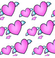 neon cute pattern with hearts on white background vector image