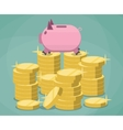 Pink piggy bank and stacks gold coins vector image vector image