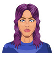 pretty girl with purple hair on white background vector image vector image