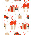 retro christmas gift boxes seamless pattern vector image