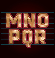 Retro Light Bulb Font from M to R vector image vector image
