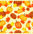 seamless autumn background red and yellow pumpkin vector image