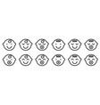set baface simple icons varied expressions vector image vector image