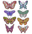 set of colorful various forms butterflies vector image vector image