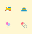 set of infant icons flat style symbols with train vector image