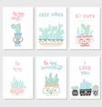 set postcards with succulents and cactuses vector image