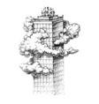 skyscraper in clouds sketch vector image vector image