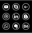 social media icon set with dark background vector image