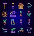spring garden neon icons vector image vector image
