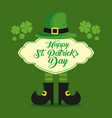st patrick hat and boots with cloud message vector image