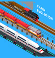 train evolution isometric composition vector image vector image