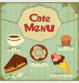vintage cafe menu vector image vector image