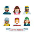 World Multinational Active People Icons vector image