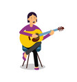 young woman playing an acoustic guitar and singing vector image vector image