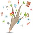 Pencil Leaf Tree Education School vector image