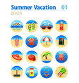 beach icon set summer vacation vector image