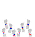 Human Hands Clenched Fist with Thai Wristband vector image