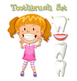 Little girl and toothbrush set vector image