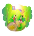 Morning jogging sports man woman and dog in the vector image