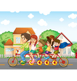 A family biking together vector image vector image