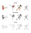 archery karate running fencing olympic sport vector image vector image
