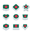 bangladesh flags icons and button set nine styles vector image vector image