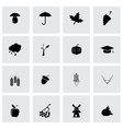 black autumn icon set vector image vector image