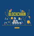 blockchain scene with minimalistic people vector image