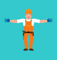 builder happy worker in protective helmet merry vector image vector image