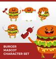 burger mascot character set logo icon vector image