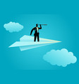 businessman using telescope on paper plane vector image vector image
